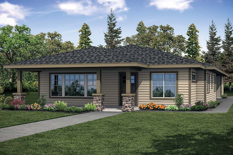 Bungalow , Prairie Style , Traditional House Plan 41322 with 3 Beds, 2 Baths, 2 Car Garage Elevation