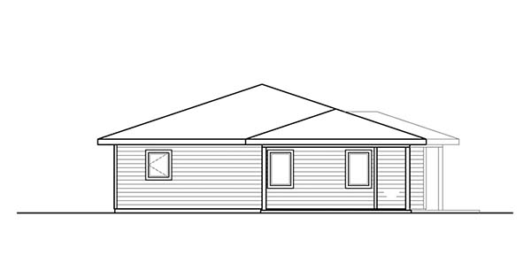 Bungalow , Prairie Style , Traditional House Plan 41322 with 3 Beds, 2 Baths, 2 Car Garage Rear Elevation