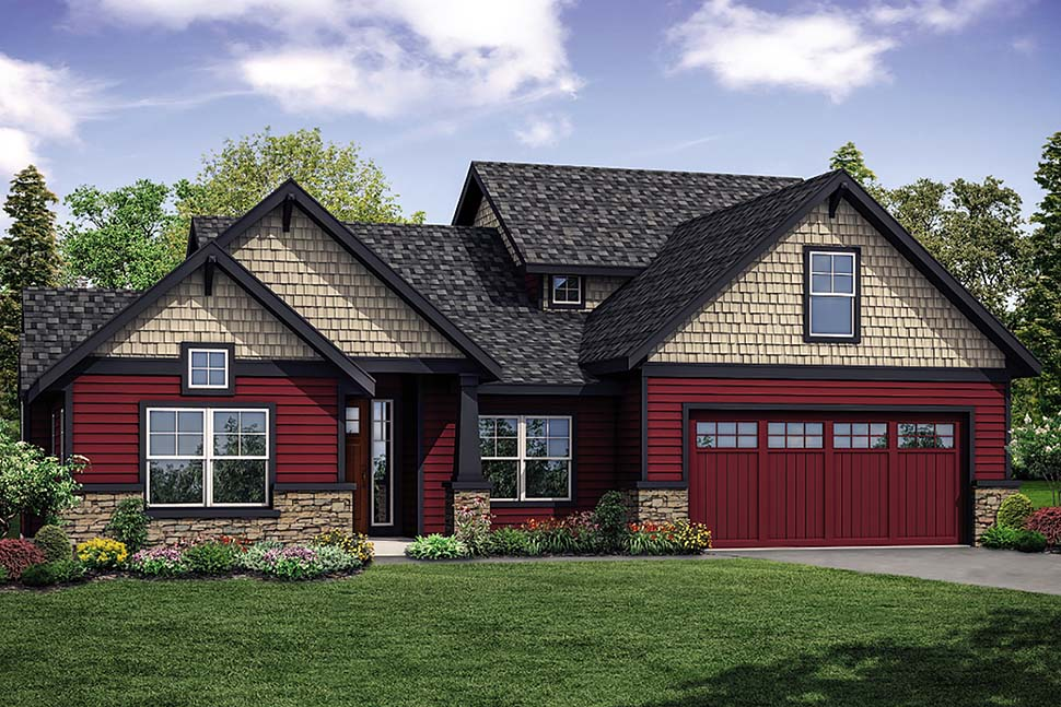 Country , Craftsman , Traditional House Plan 41323 with 3 Beds, 3 Baths, 2 Car Garage Elevation