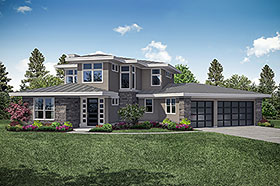 Contemporary , Modern , Prairie Style House Plan 41324 with 3 Beds, 3 Baths, 3 Car Garage Elevation