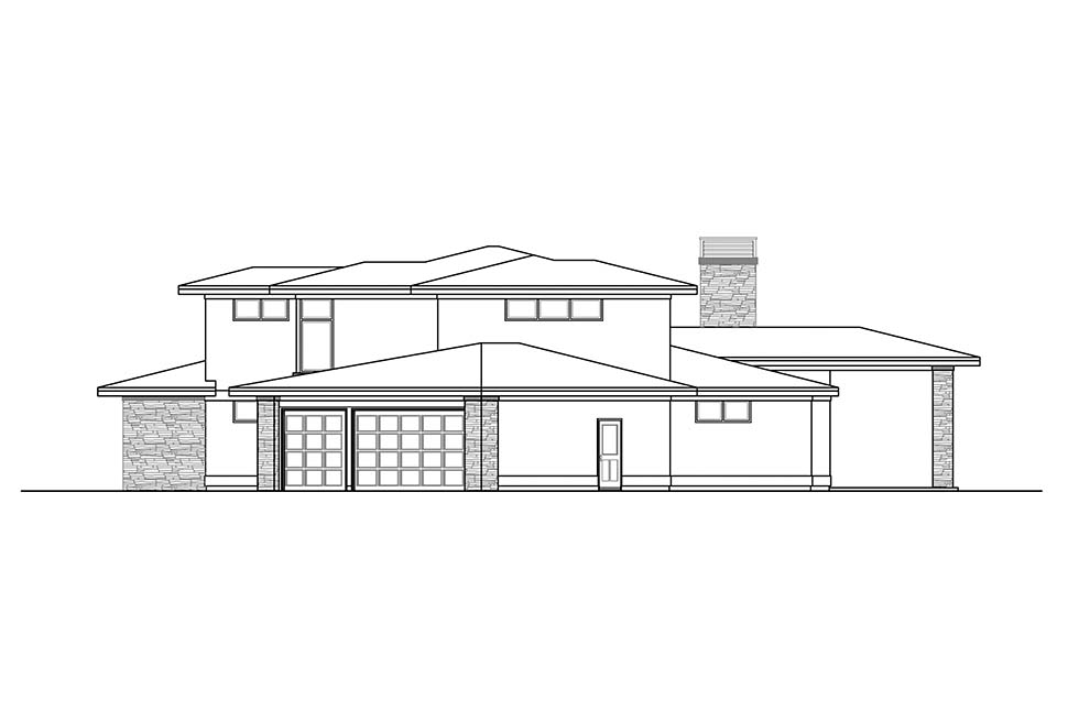 Contemporary, Modern, Prairie House Plan 41324 with 3 Beds, 3 Baths, 3 Car Garage Picture 1