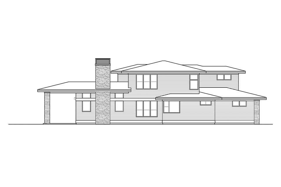 Contemporary, Modern, Prairie House Plan 41324 with 3 Beds, 3 Baths, 3 Car Garage Picture 2