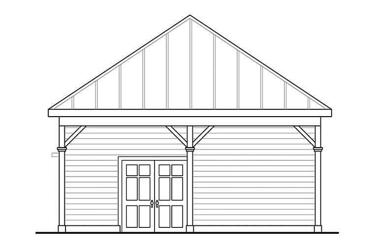 Country 2 Car Garage Plan 41329 Rear Elevation