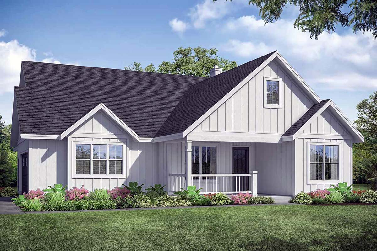 Country, Farmhouse, Ranch House Plan 41341 with 3 Beds, 2 Baths, 2 Car Garage Elevation