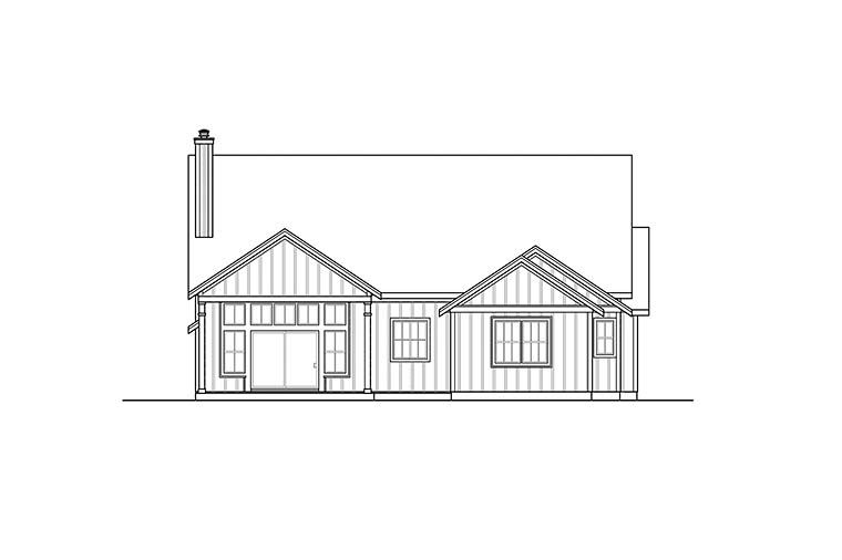 Country, Farmhouse, Ranch House Plan 41341 with 3 Beds, 2 Baths, 2 Car Garage Rear Elevation