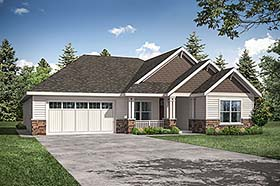 Cottage , Ranch , Traditional House Plan 41345 with 3 Beds, 2 Baths, 2 Car Garage Elevation