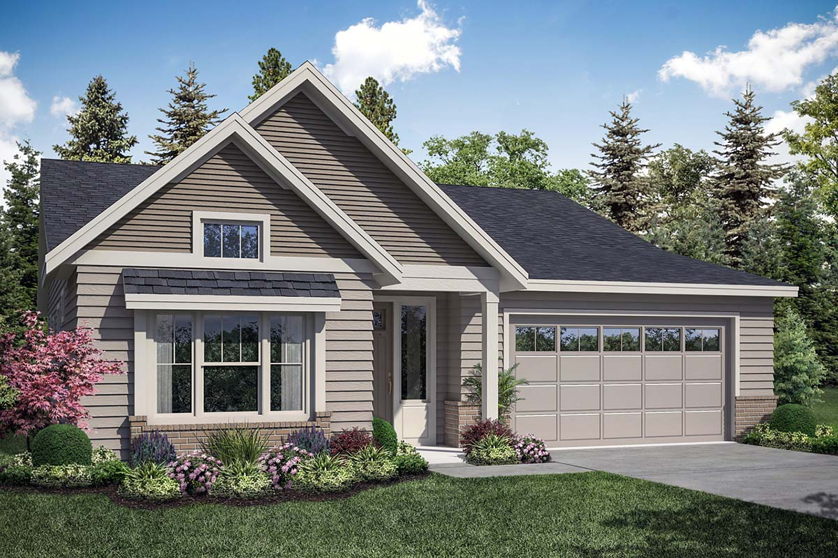 Craftsman , Bungalow House Plan 41346 with 3 Beds, 2 Baths, 2 Car Garage Elevation