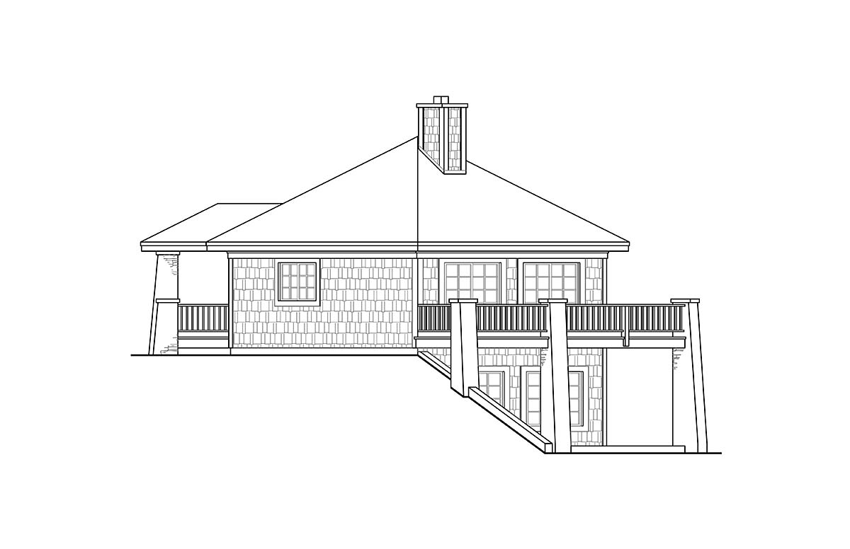 Cabin, Coastal, Craftsman, Prairie House Plan 41347 with 1 Beds, 1 Baths Picture 1