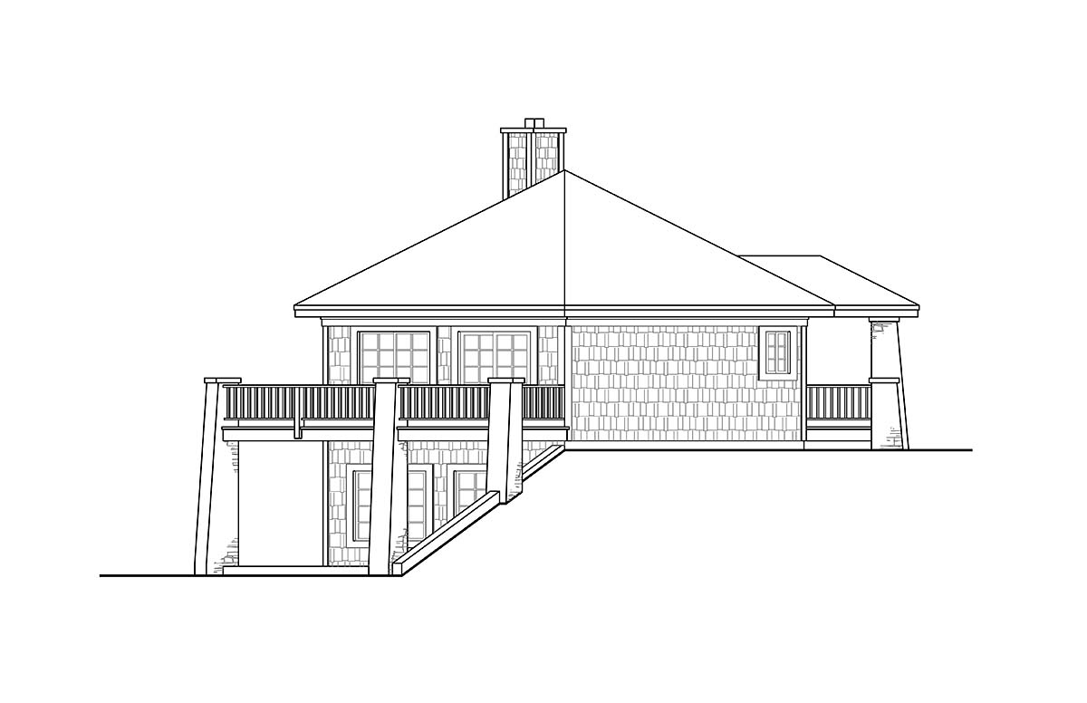 Cabin, Coastal, Craftsman, Prairie House Plan 41347 with 1 Beds, 1 Baths Picture 2