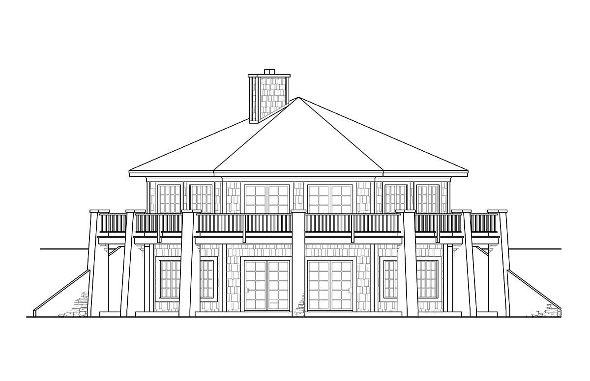 Cabin, Coastal, Craftsman, Prairie House Plan 41347 with 1 Beds, 1 Baths Rear Elevation