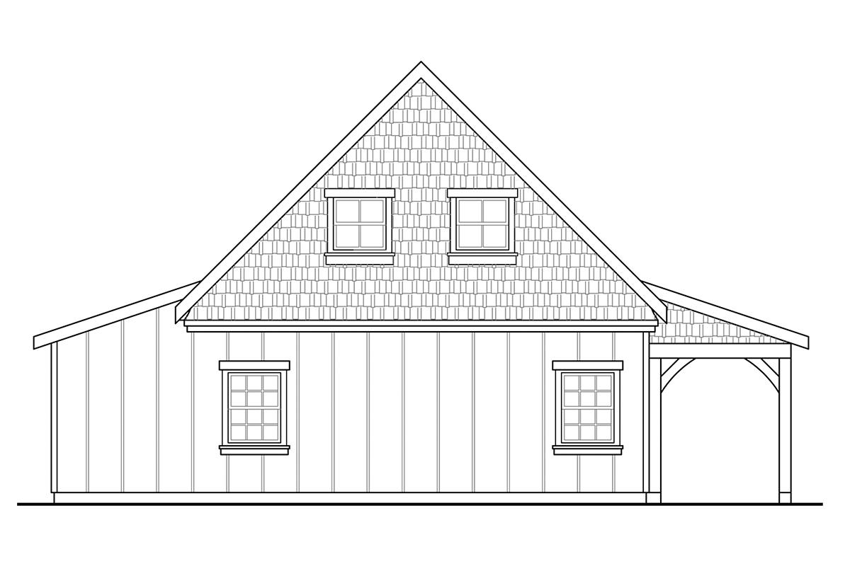 Country, Craftsman, Farmhouse 2 Car Garage Plan 41349 Rear Elevation
