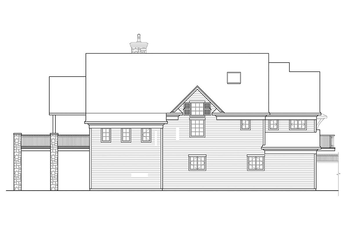 Bungalow, Craftsman, European House Plan 41353 with 1 Beds, 3 Baths, 2 Car Garage Rear Elevation