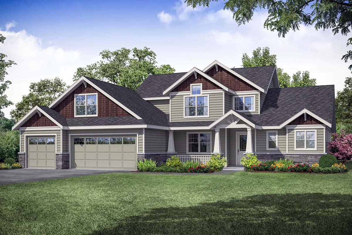 Country, Craftsman, Farmhouse House Plan 41355 with 3 Beds, 3 Baths, 3 Car Garage Elevation