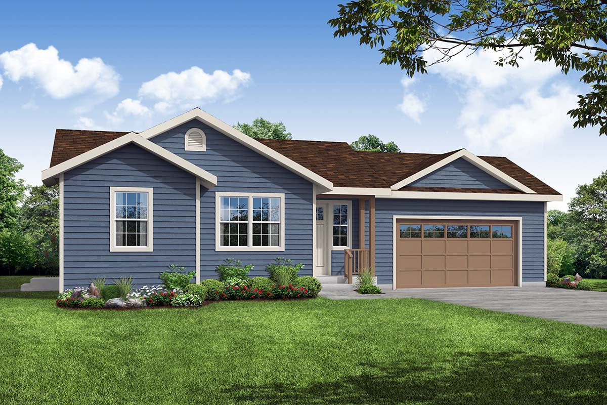Cottage, Country, Ranch House Plan 41357 with 1 Beds, 1 Baths, 2 Car Garage Elevation