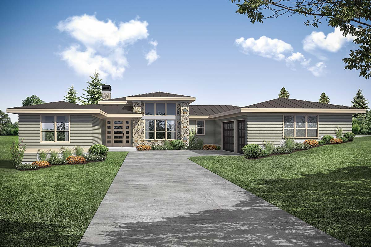 Contemporary, Prairie House Plan 41358 with 3 Beds, 3 Baths, 3 Car Garage Elevation