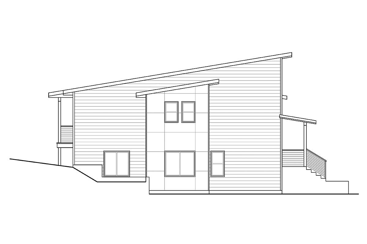 Contemporary, Modern, Narrow Lot House Plan 41359 with 3 Beds, 3 Baths, 2 Car Garage Picture 2