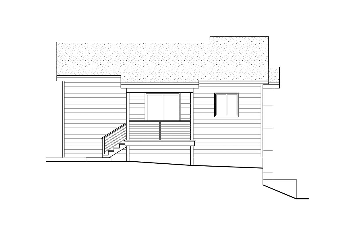 Contemporary, Modern, Narrow Lot House Plan 41359 with 3 Beds, 3 Baths, 2 Car Garage Rear Elevation