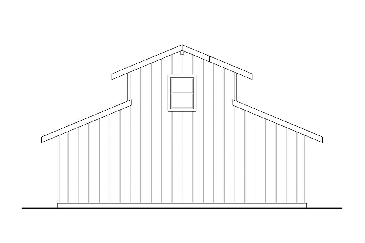 Traditional 2 Car Garage Plan 41364 Rear Elevation