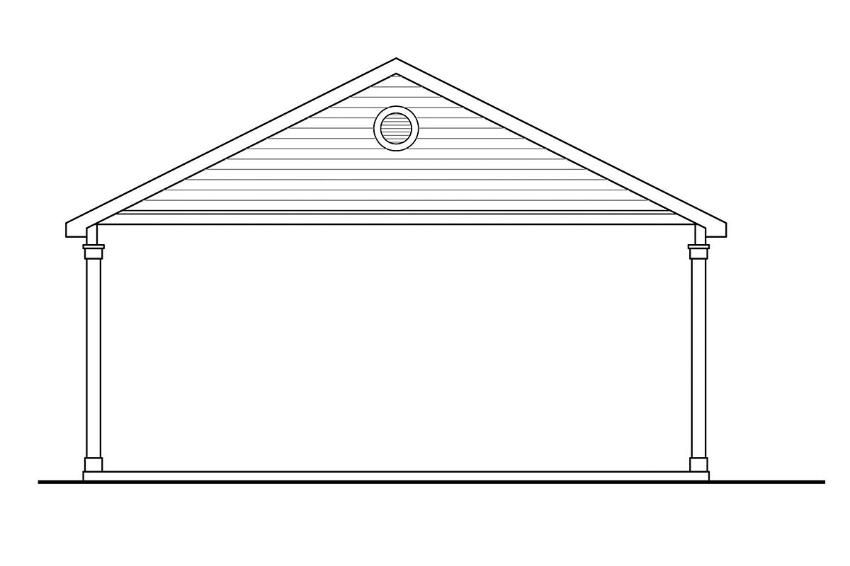 Traditional 4 Car Garage Plan 41365 Rear Elevation