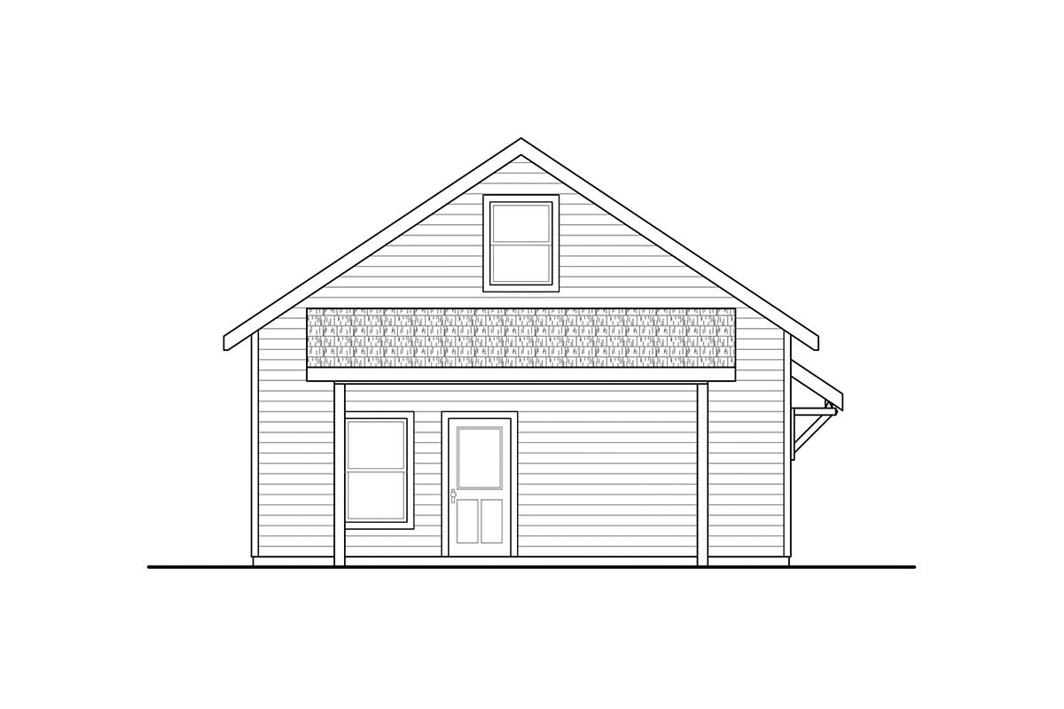 Country, Craftsman 2 Car Garage Plan 41367 Rear Elevation