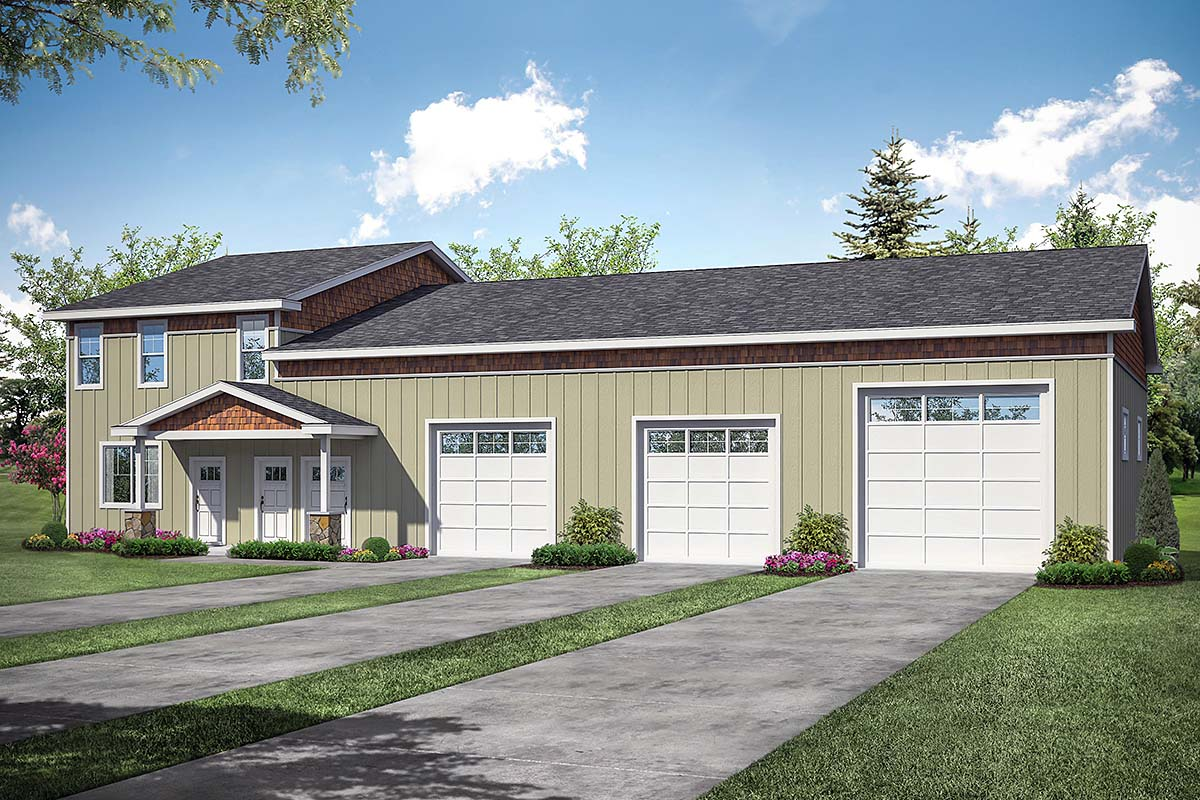 Country, Craftsman 3 Car Garage Apartment Plan 41368 with 1 Beds, 1 Baths, RV Storage Elevation