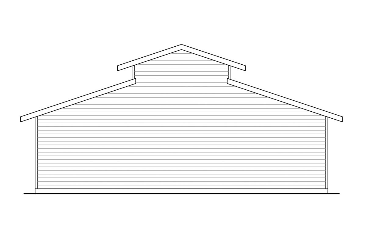Traditional 3 Car Garage Plan 41370, RV Storage Rear Elevation
