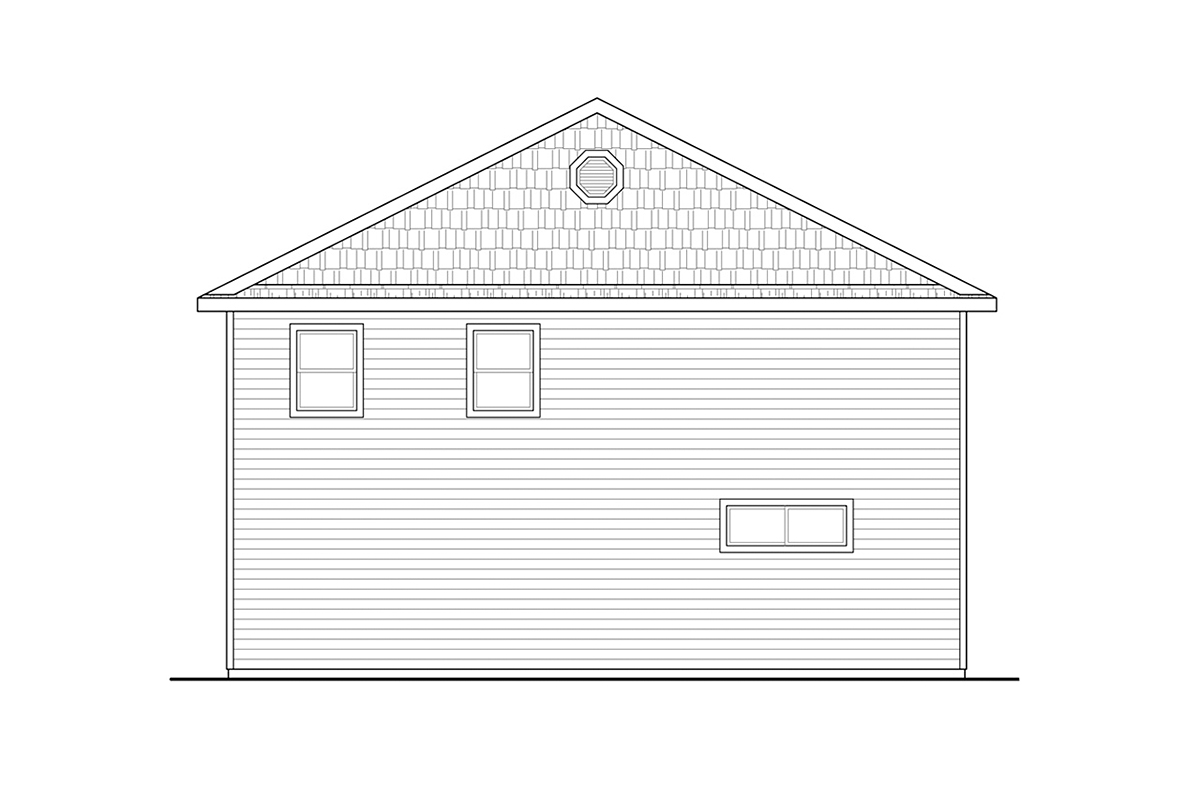 Country, Ranch, Traditional 2 Car Garage Apartment Plan 41371 with 1 Beds, 2 Baths, RV Storage Rear Elevation