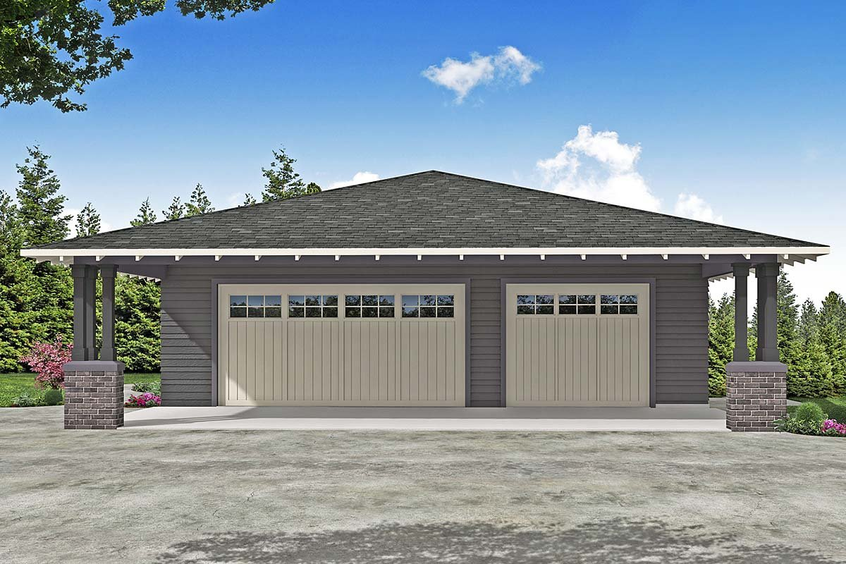 Craftsman, Prairie, Traditional 2 Car Garage Plan 41374 Elevation