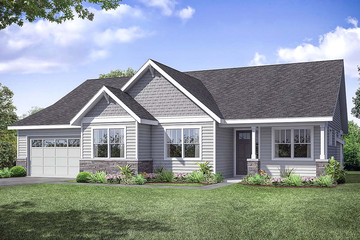 Country, Ranch, Traditional House Plan 41375 with 3 Beds, 2 Baths, 2 Car Garage Front Elevation