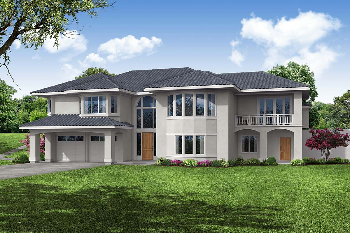 Mediterranean, Southwest House Plan 41376 with 3 Beds, 3 Baths, 2 Car Garage Front Elevation