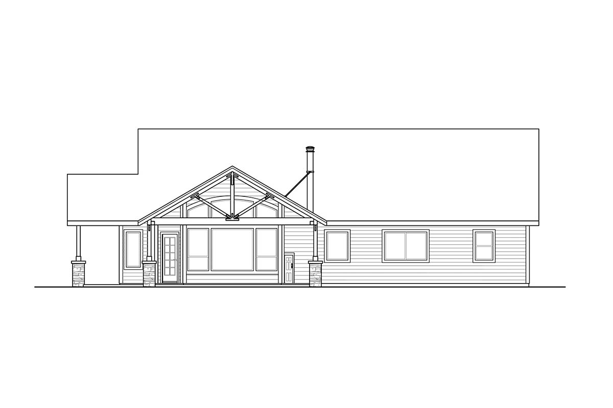 Country, Craftsman, Ranch House Plan 41379 with 4 Beds, 2 Baths, 2 Car Garage Picture 1