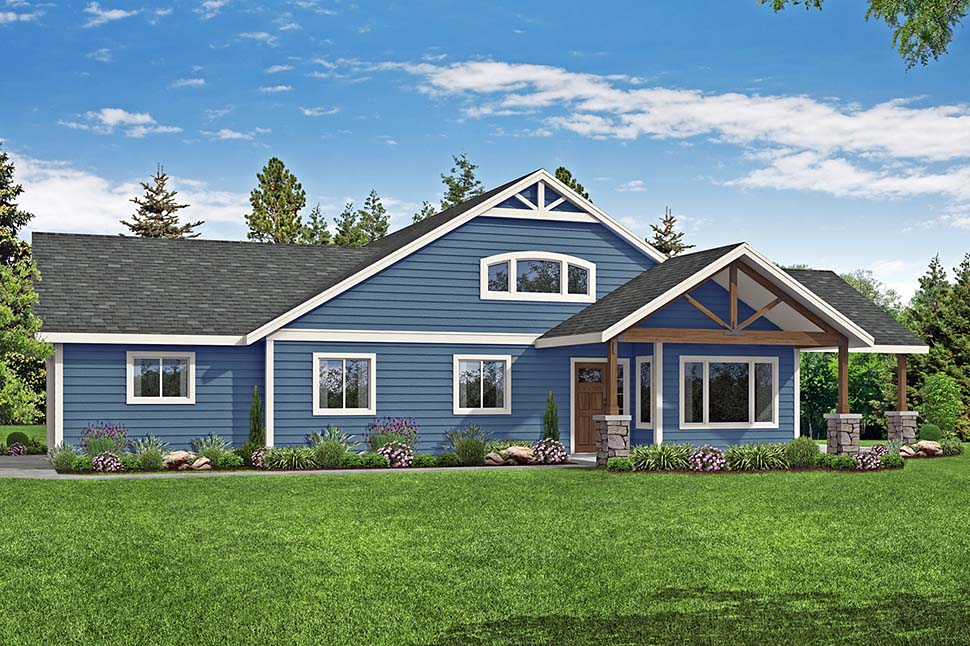 Country, Craftsman, Ranch House Plan 41379 with 4 Beds, 2 Baths, 2 Car Garage Picture 3