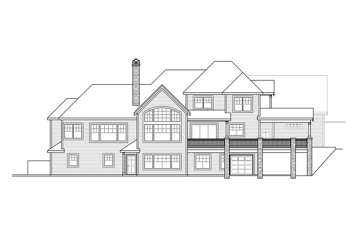 Craftsman, European House Plan 41380 with 4 Beds, 6 Baths, 3 Car Garage Rear Elevation