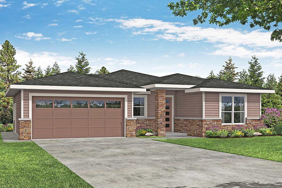 Contemporary, Prairie, Traditional House Plan 41382, 2 Car Garage Elevation