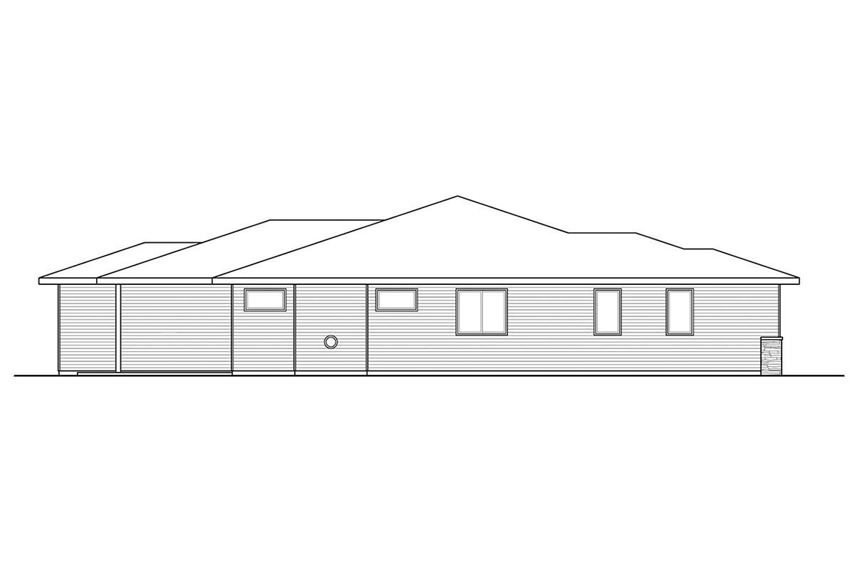 Modern, Prairie, Ranch House Plan 41389 with 3 Beds, 2 Baths, 2 Car Garage Picture 2