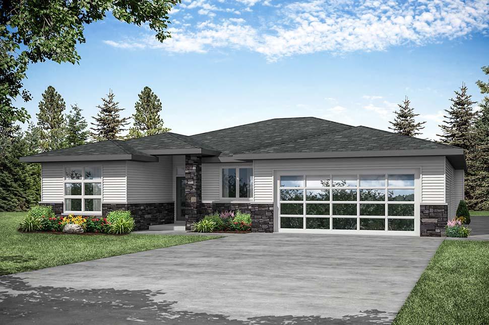 Modern, Prairie, Ranch House Plan 41389 with 3 Beds, 2 Baths, 2 Car Garage Picture 3