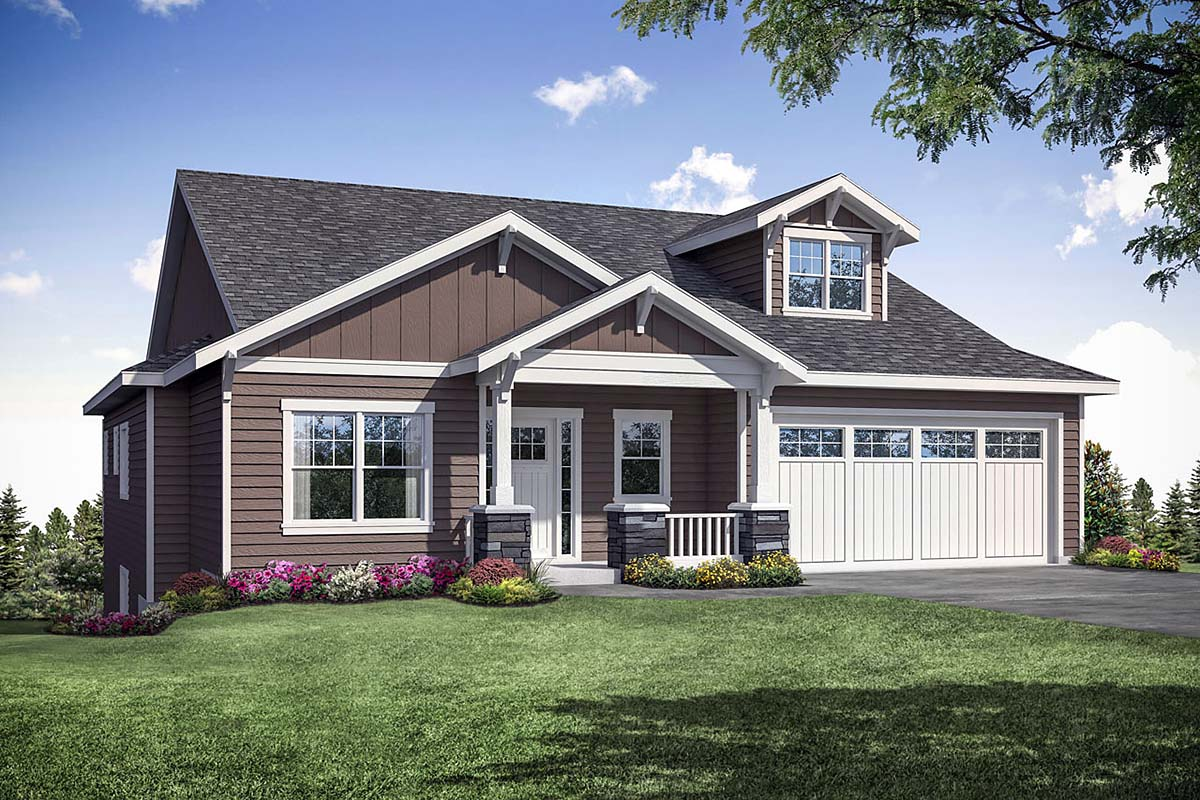 Contemporary, Craftsman House Plan 41391 with 3 Beds, 3 Baths, 2 Car Garage Elevation