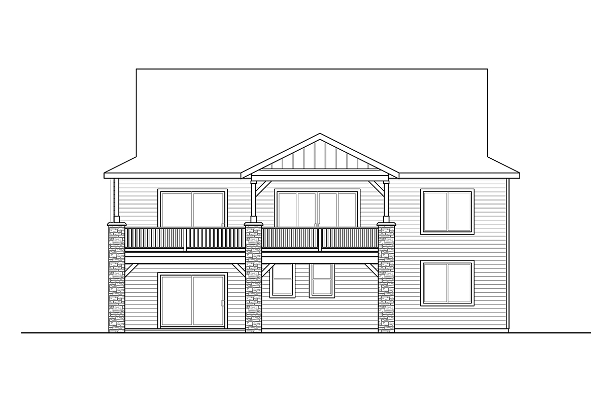 Contemporary, Craftsman House Plan 41391 with 3 Beds, 3 Baths, 2 Car Garage Rear Elevation