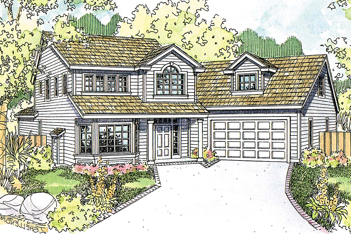 Country, Traditional House Plan 41393 with 4 Beds, 4 Baths, 2 Car Garage Elevation