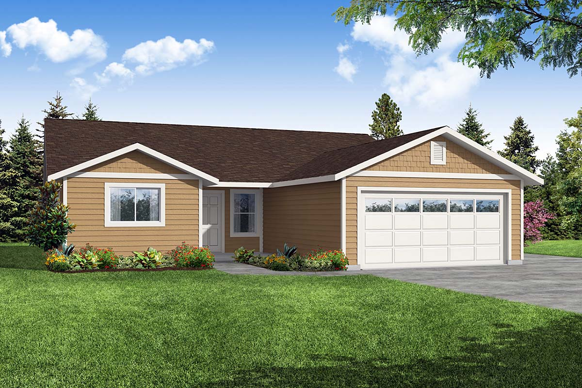Craftsman, Ranch House Plan 41394 with 4 Beds, 2 Baths, 2 Car Garage Elevation