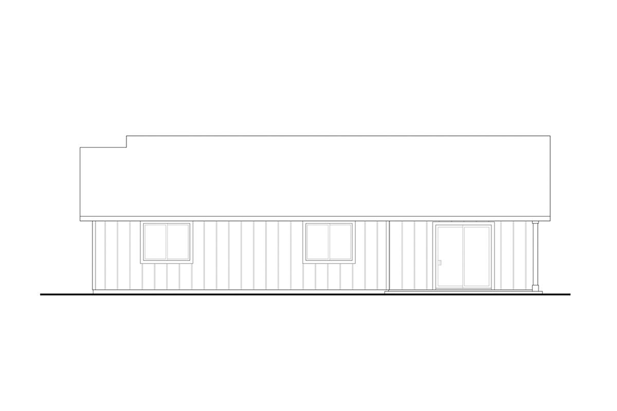 Craftsman, Ranch House Plan 41394 with 4 Beds, 2 Baths, 2 Car Garage Rear Elevation