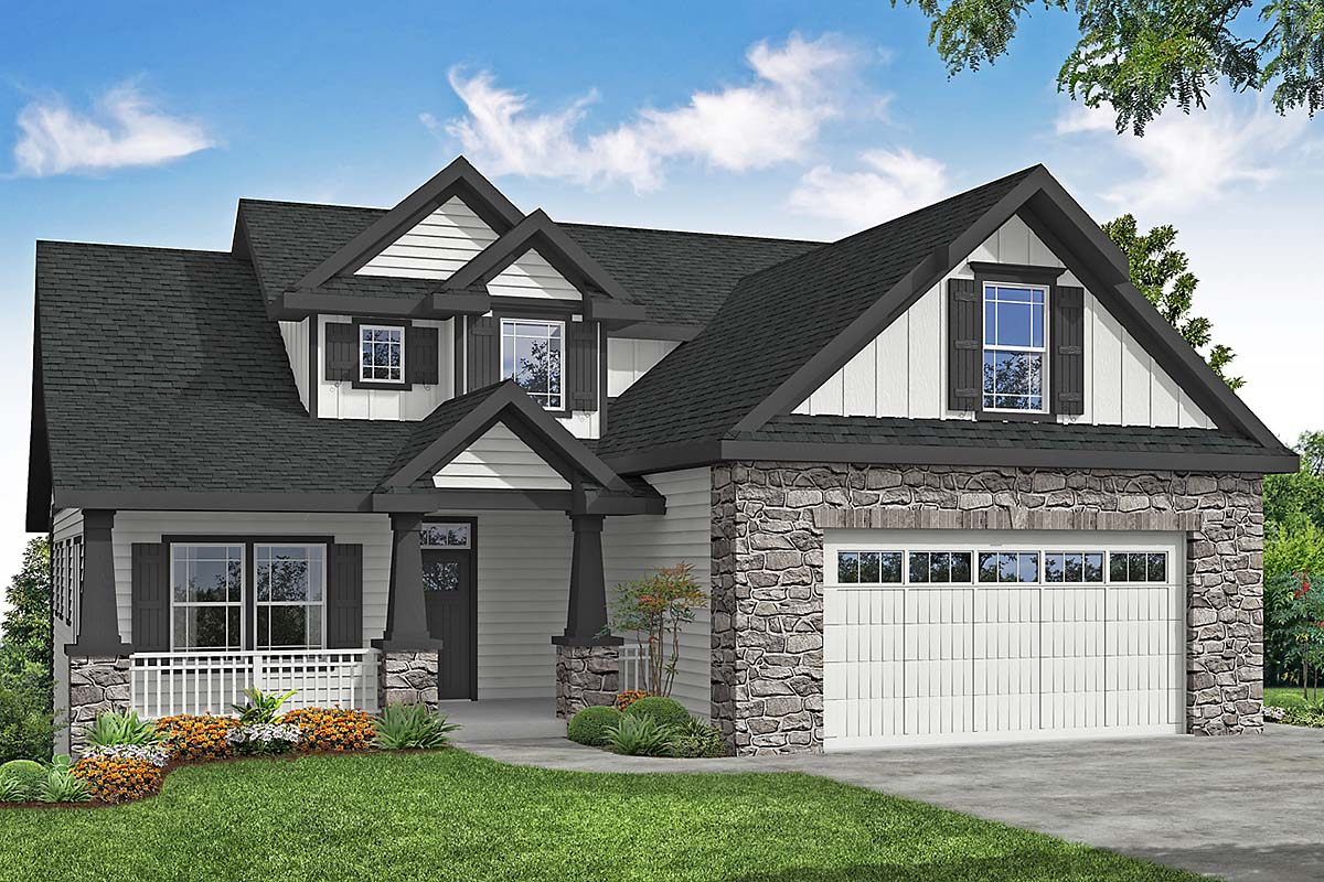 Craftsman, European, Traditional House Plan 41398 with 3 Beds, 3 Baths, 2 Car Garage Elevation