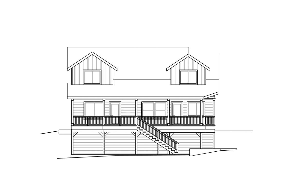 Craftsman, European, Traditional House Plan 41398 with 3 Beds, 3 Baths, 2 Car Garage Rear Elevation