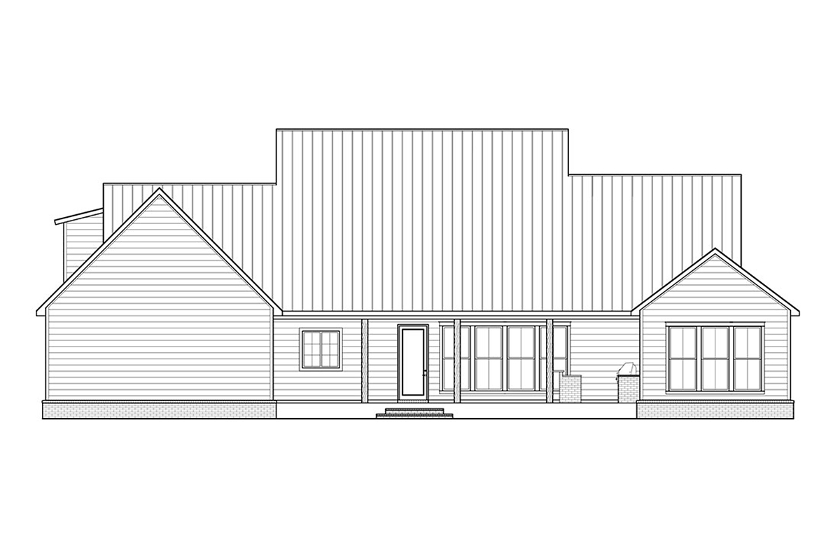Country , Farmhouse , Traditional House Plan 41400 with 3 Beds, 3 Baths, 2 Car Garage Rear Elevation