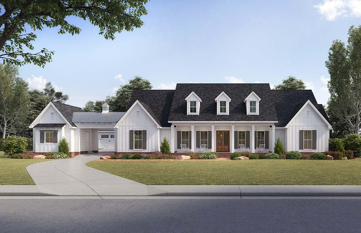 Country, Farmhouse, Traditional House Plan 41401 with 4 Beds, 4 Baths, 4 Car Garage