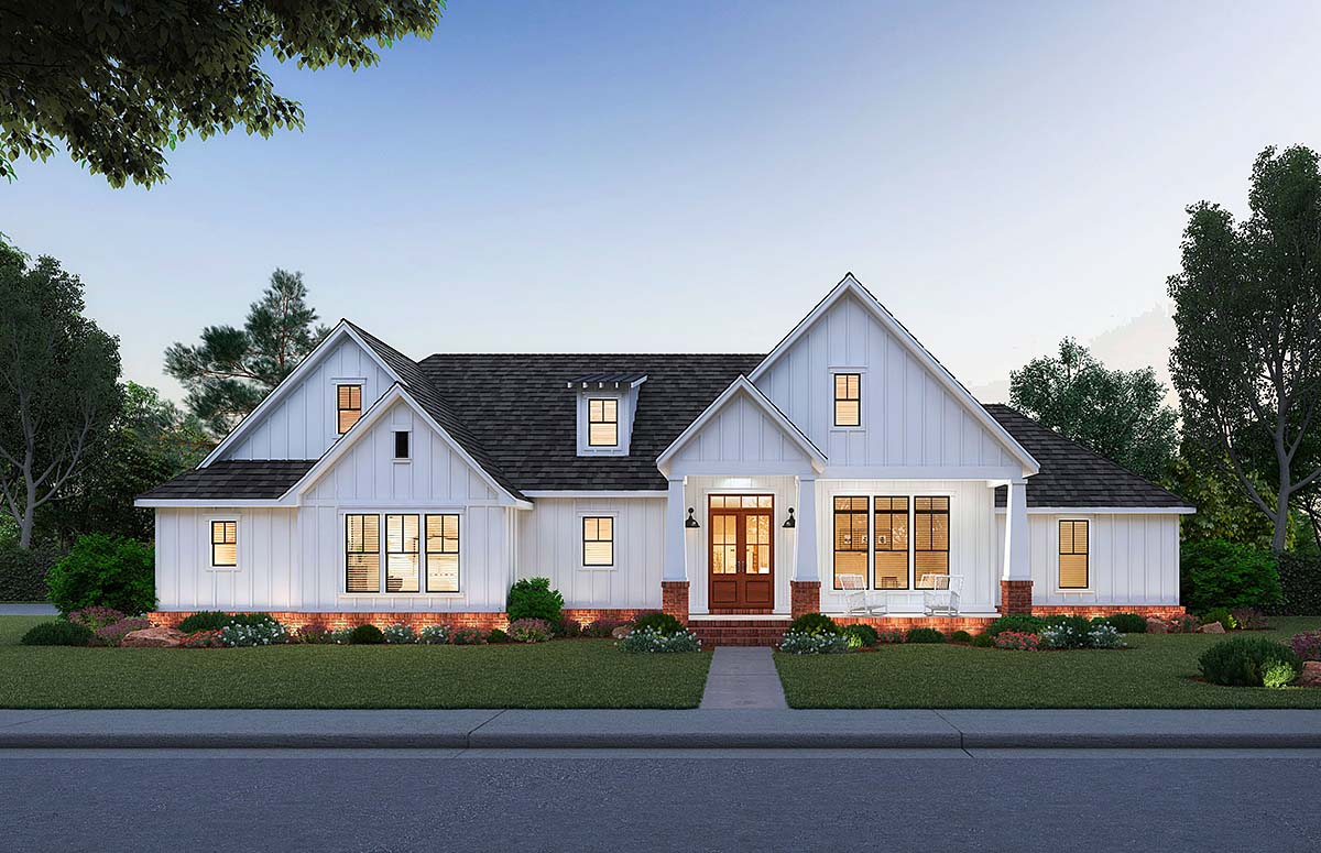 Country, Farmhouse, Traditional House Plan 41402 with 3 Beds, 3 Baths, 2 Car Garage Elevation