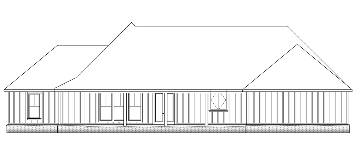 Country , Farmhouse , Traditional , Rear Elevation of Plan 41402