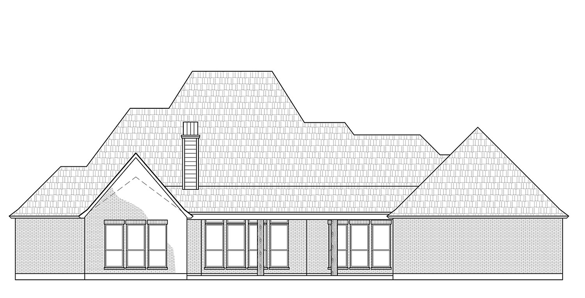 European Traditional Rear Elevation of Plan 41403