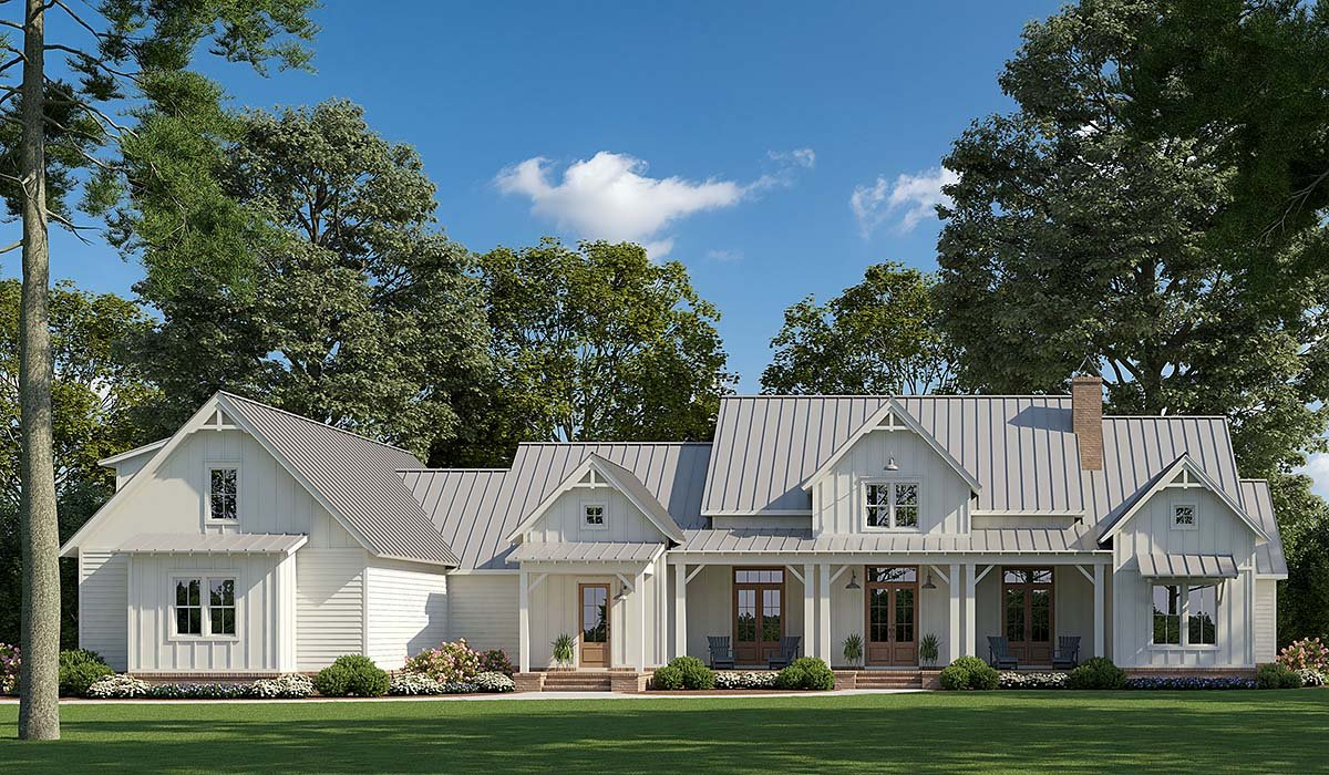 Country, Modern Farmhouse House Plan 41405 with 4 Beds, 4 Baths, 3 Car Garage Elevation