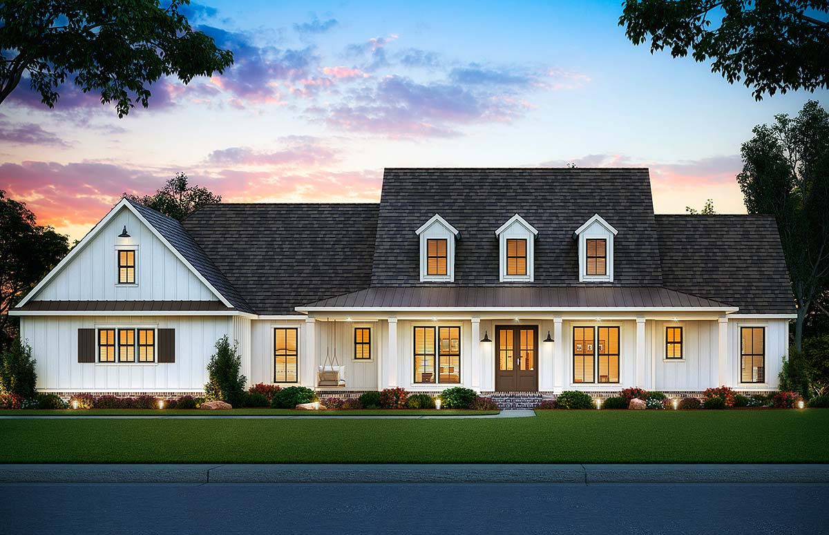Country, Farmhouse House Plan 41406 with 5 Beds, 4 Baths, 3 Car Garage Front Elevation